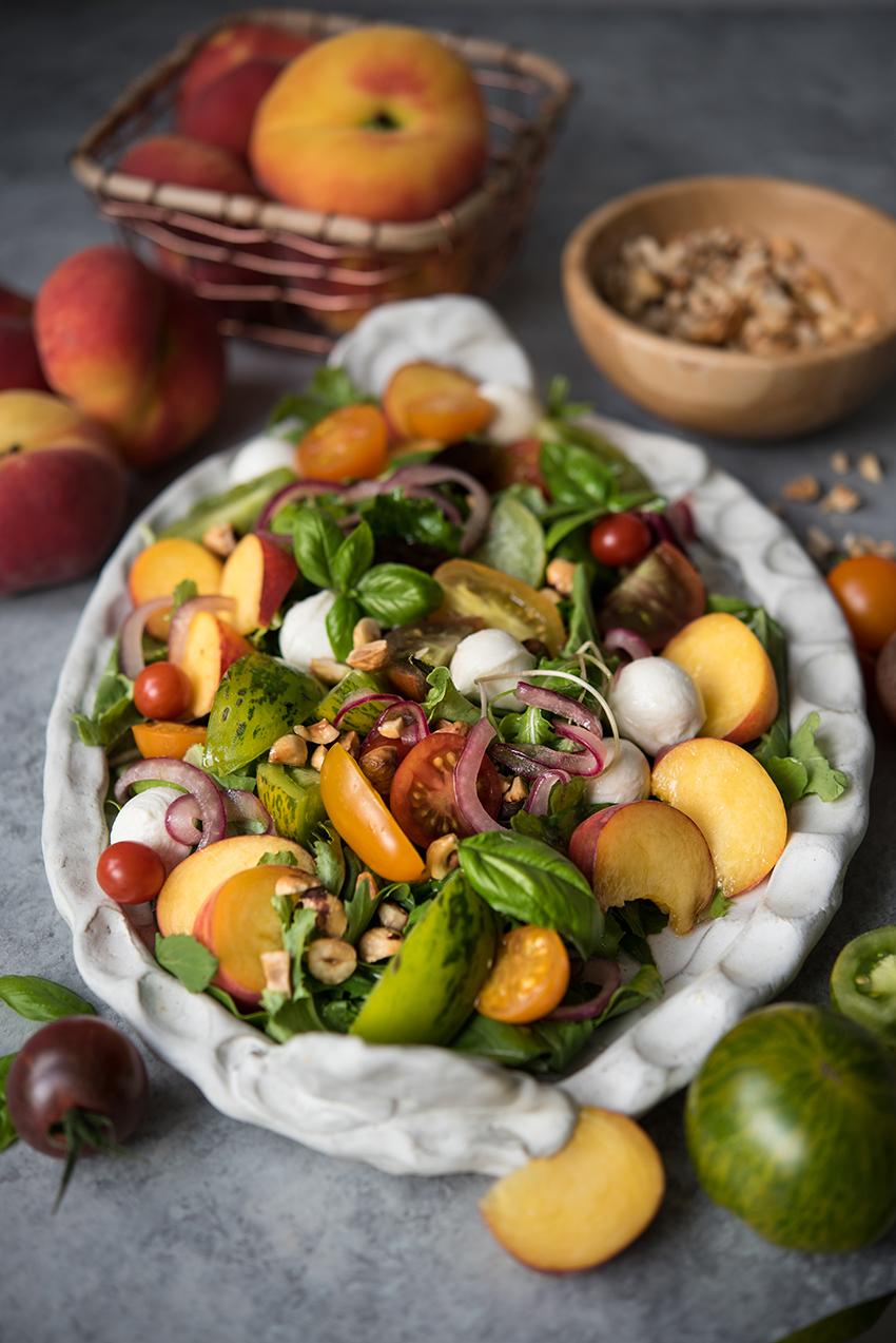Peach tomato summer salad