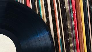 vinyl record pile