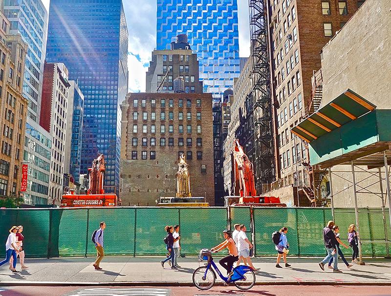 New York city sidewalk and buildings