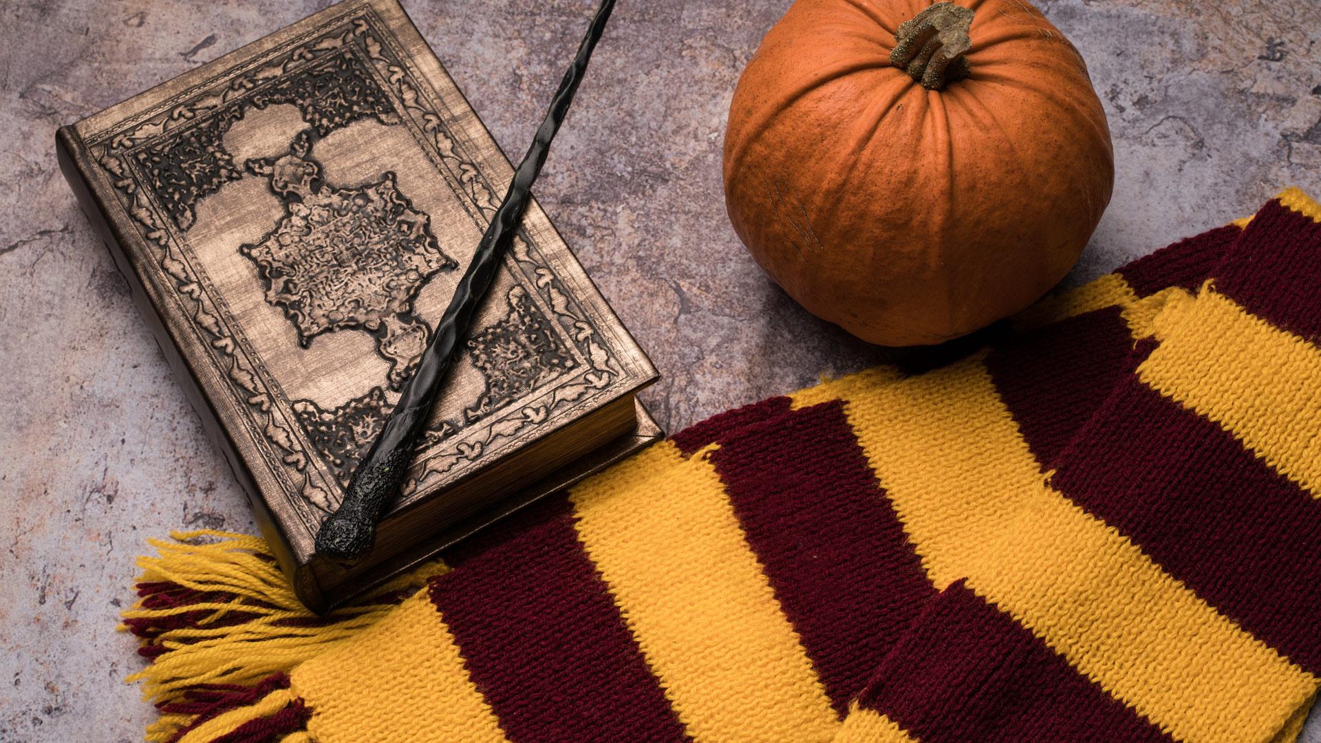 Scarf, wand, spellbook