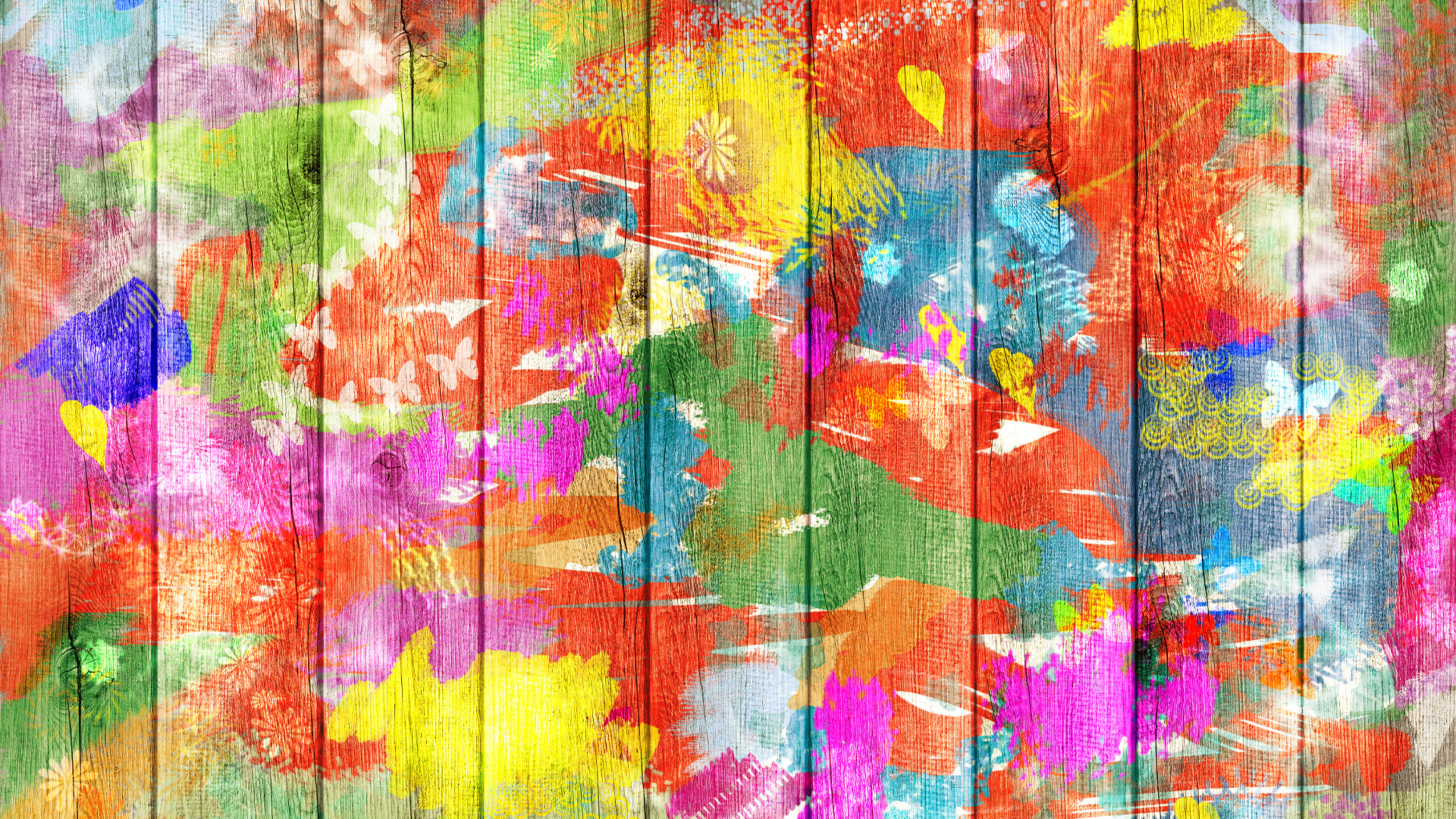 Colorful paint on boards