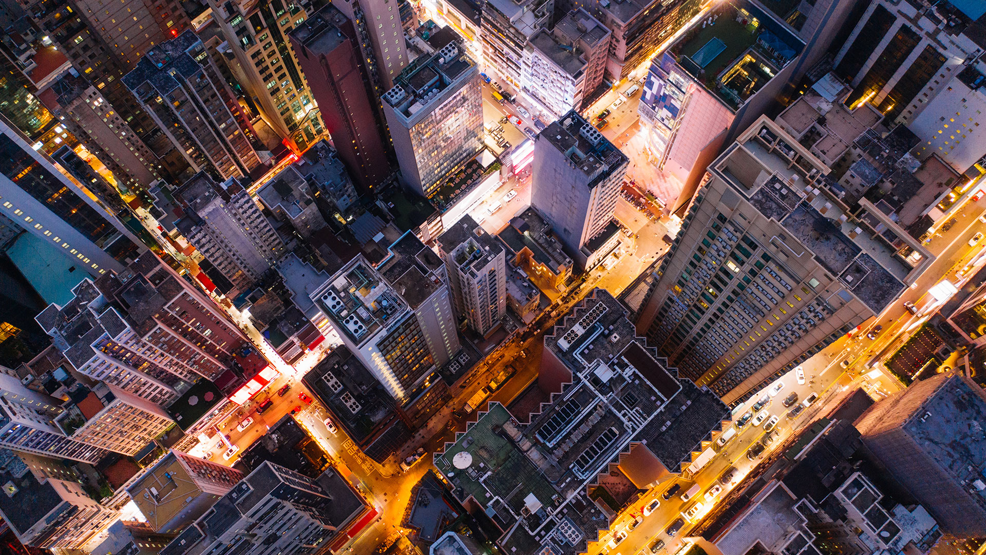 aerial view city skyscrapers