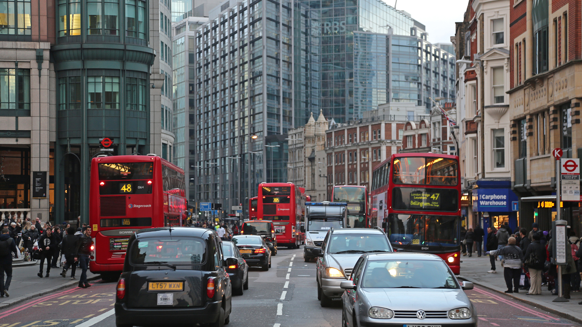 Buses and cars in London