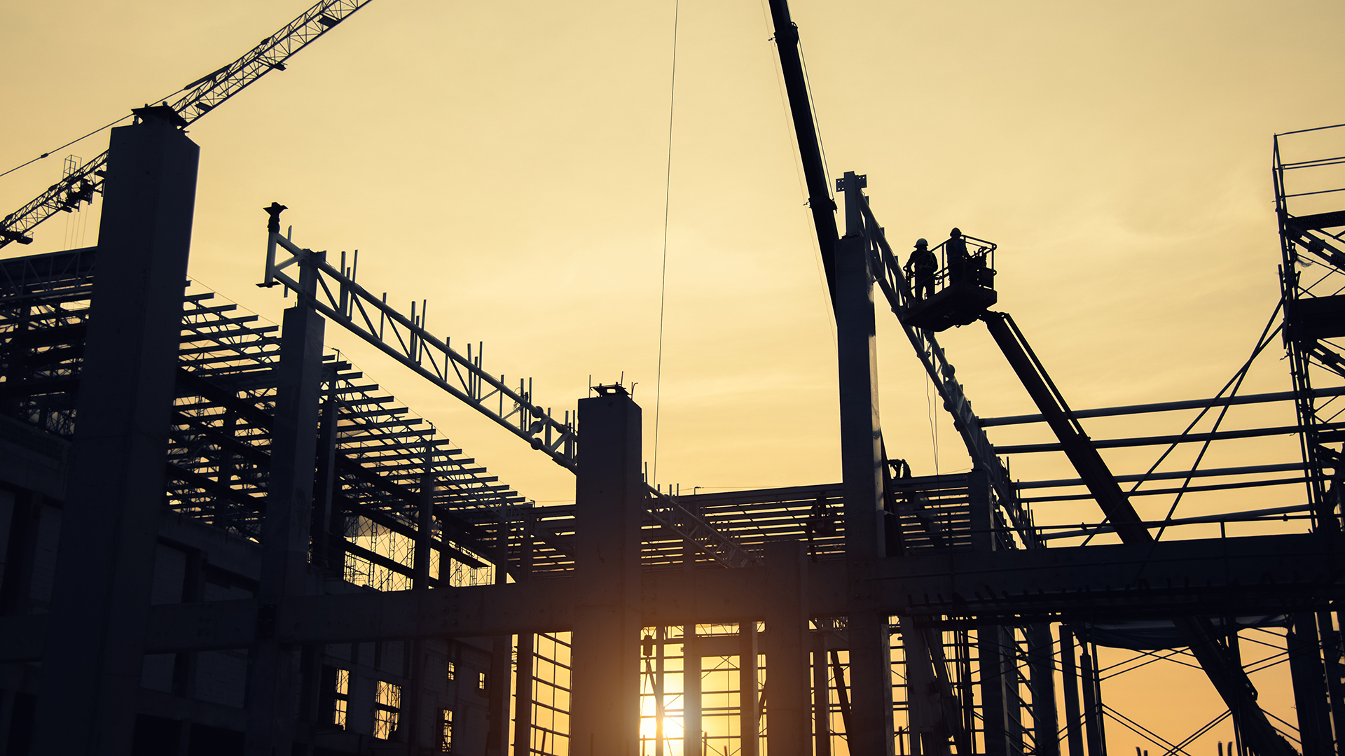 Construction and sunset