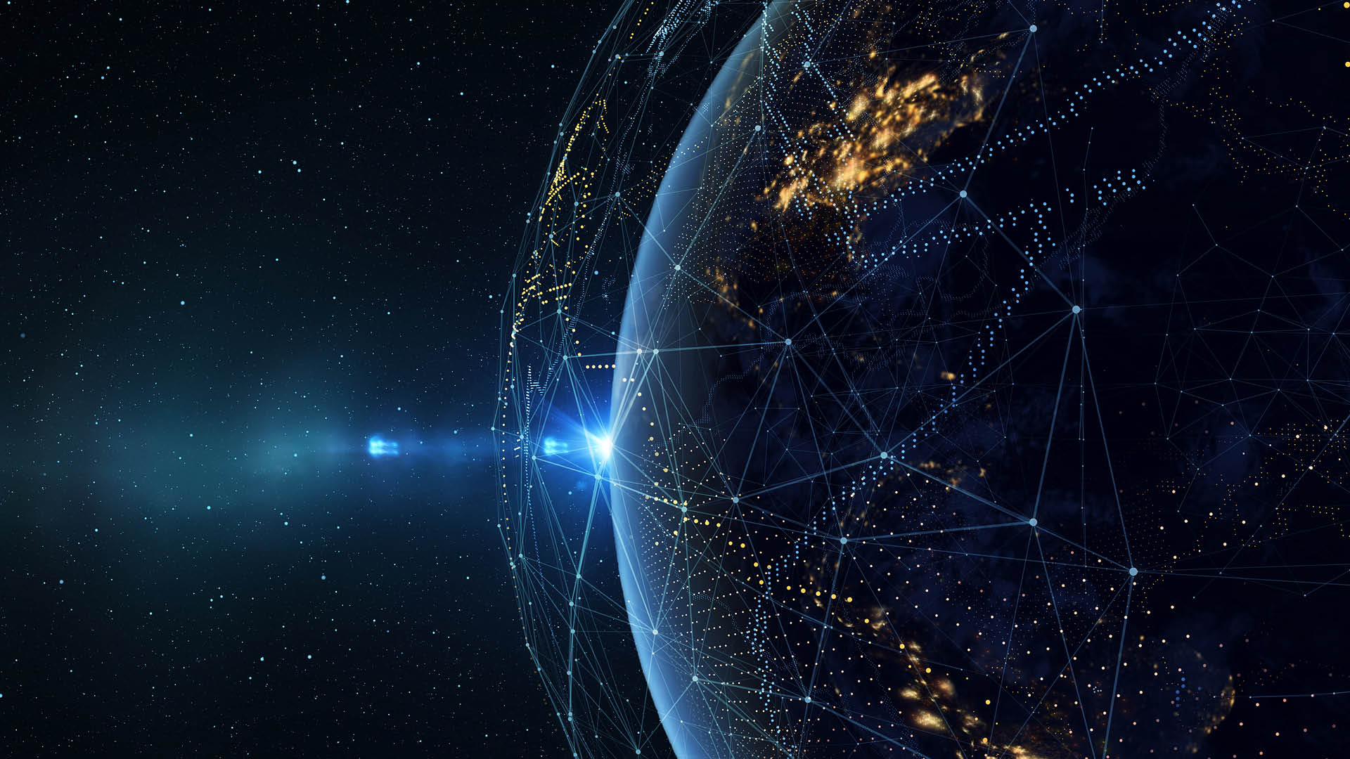Earth from space at night with a digital communication system
