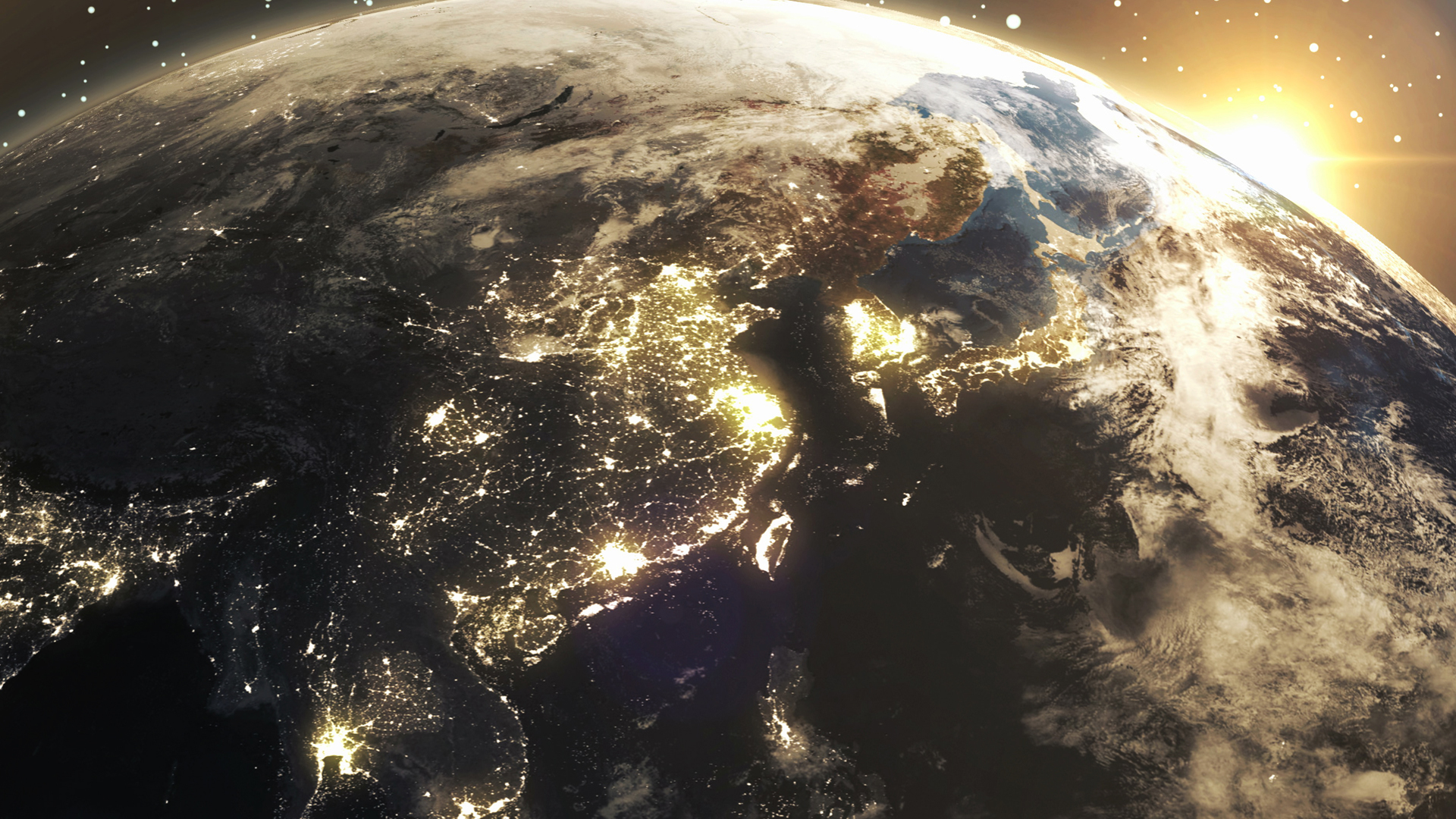 Earth Sunshine At East Asia From Space