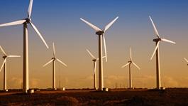 Energy-renewable-wind-farm-on-shore-windmill