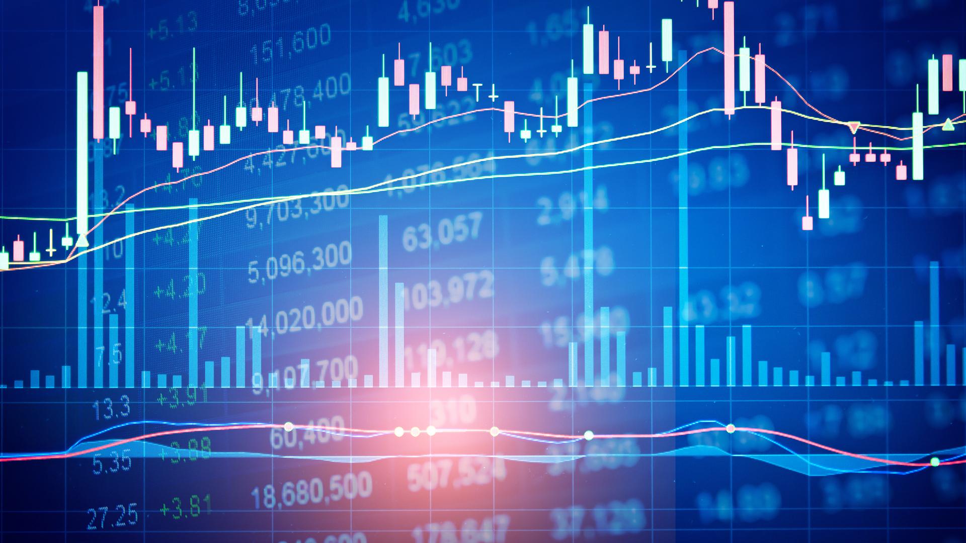 Financial charts graph