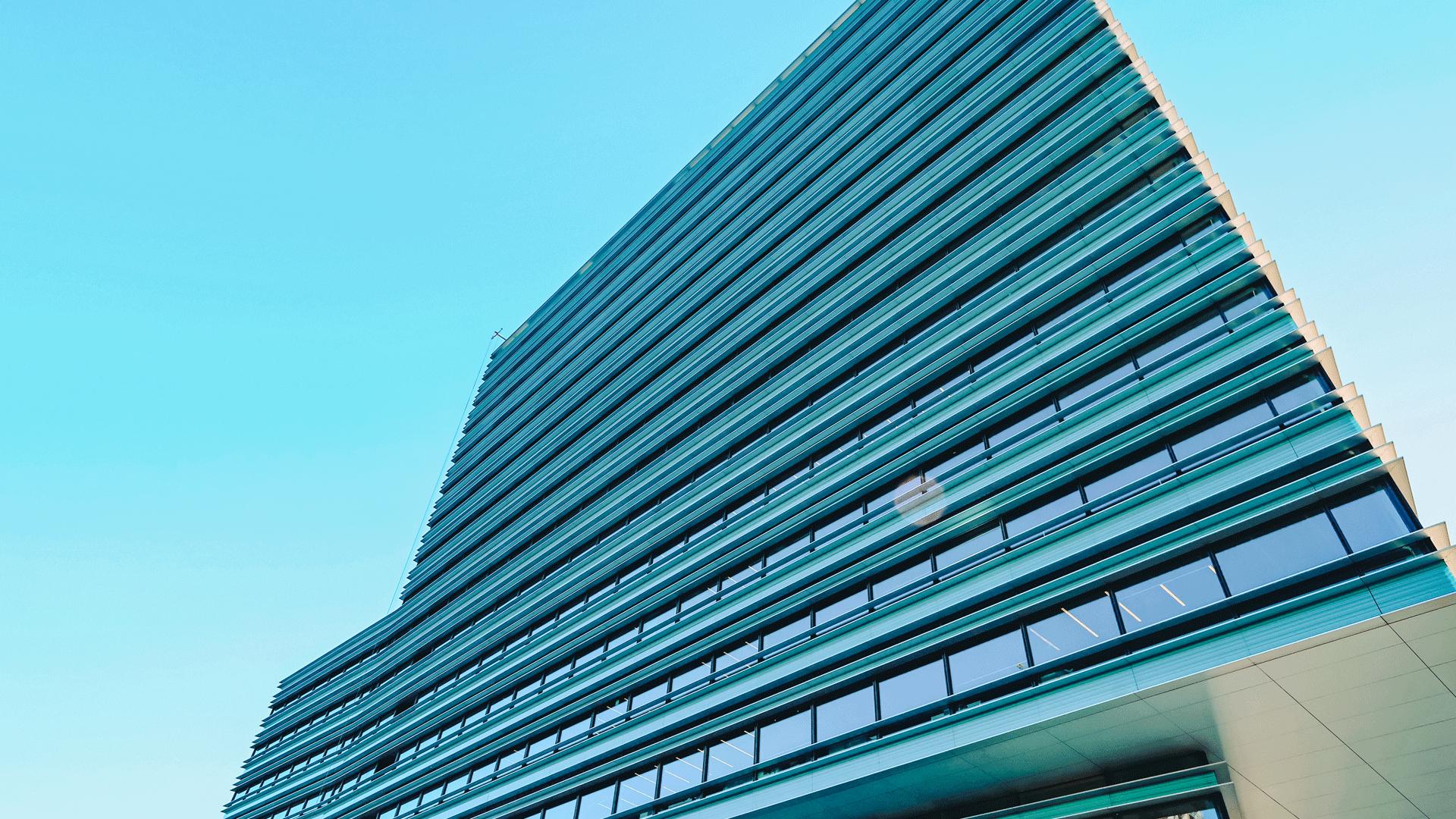 high rise blue building