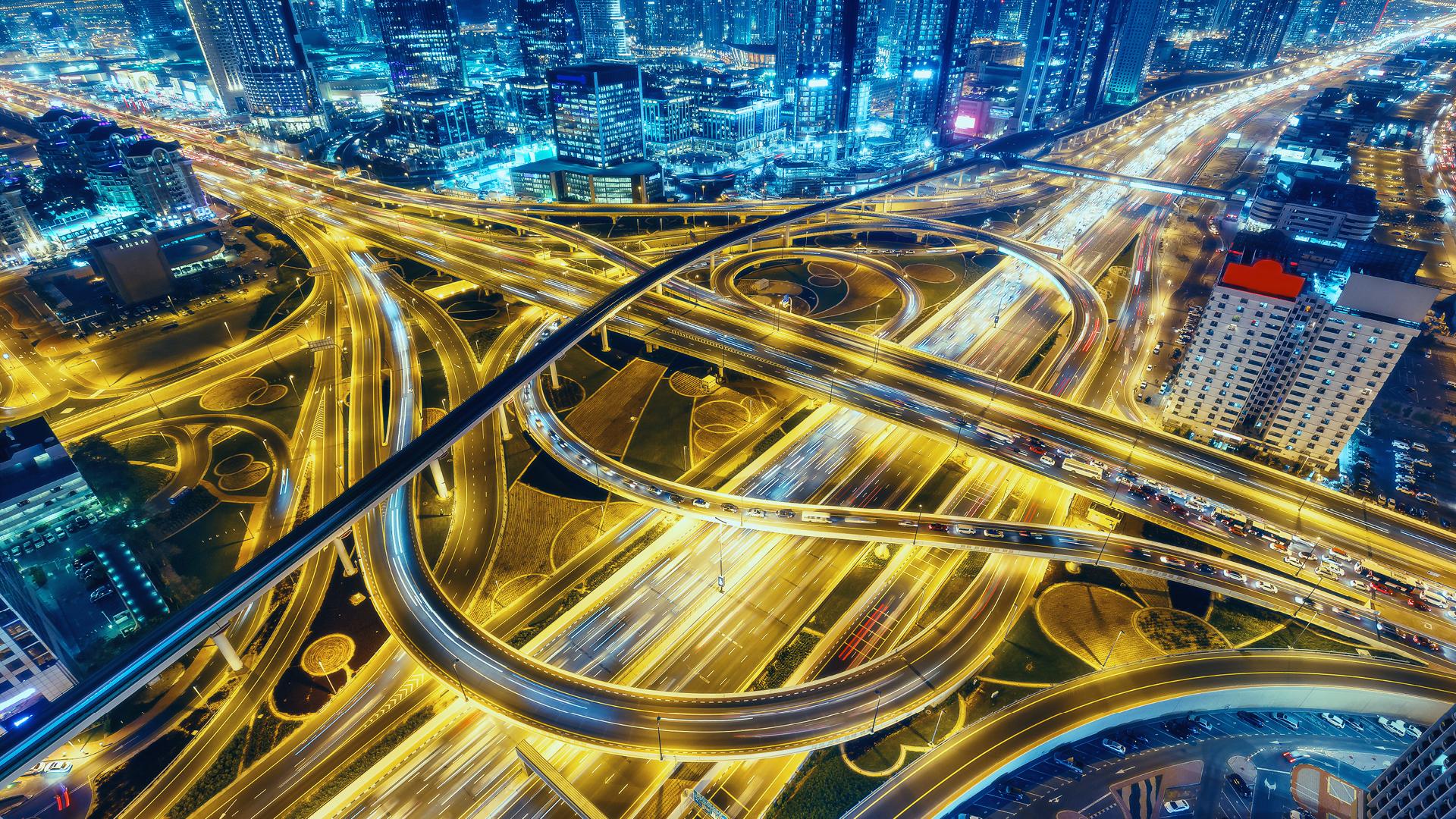 highway interchange in Dubai
