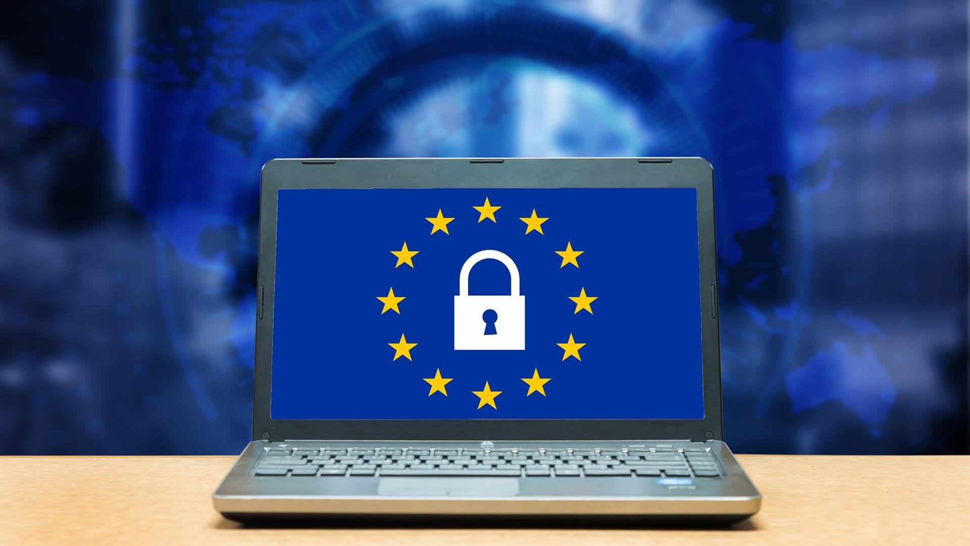 laptop with european union logo