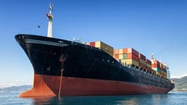 Large shipping vessel with containers