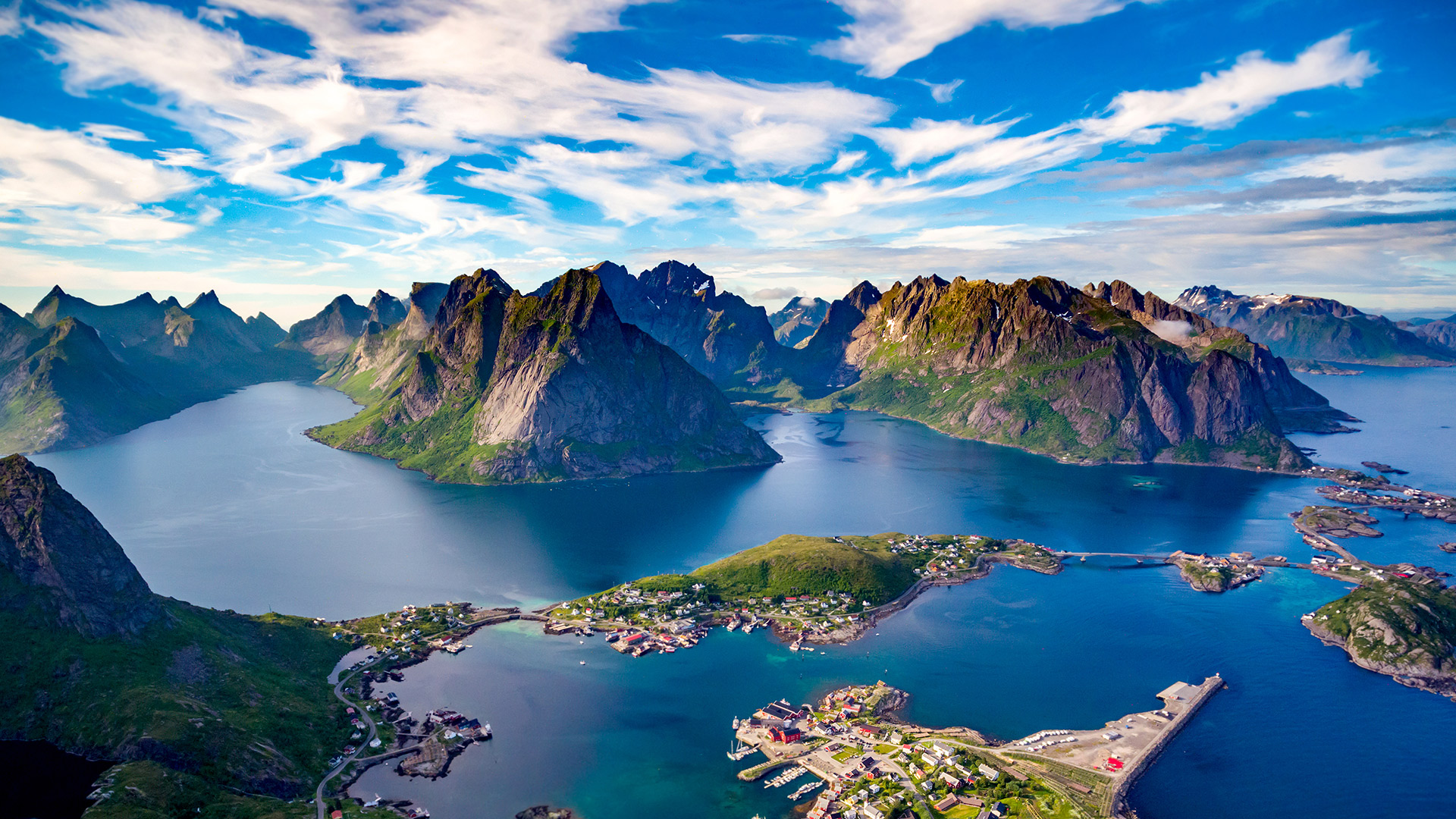 Lofoten islands mountain view of Nordland, Norway