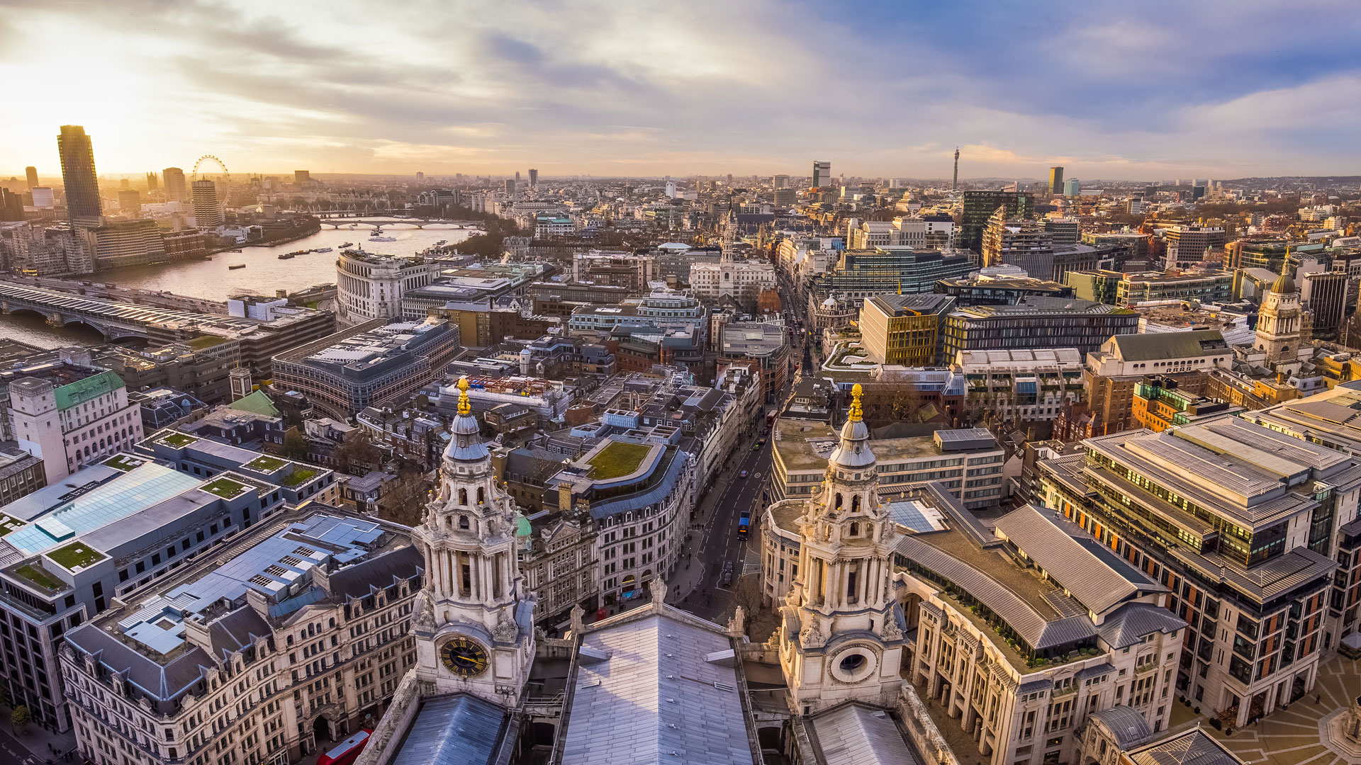 London skyline, view from Saint Paul Cathedral