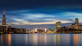 London, view of Tower Bridge from the Thames