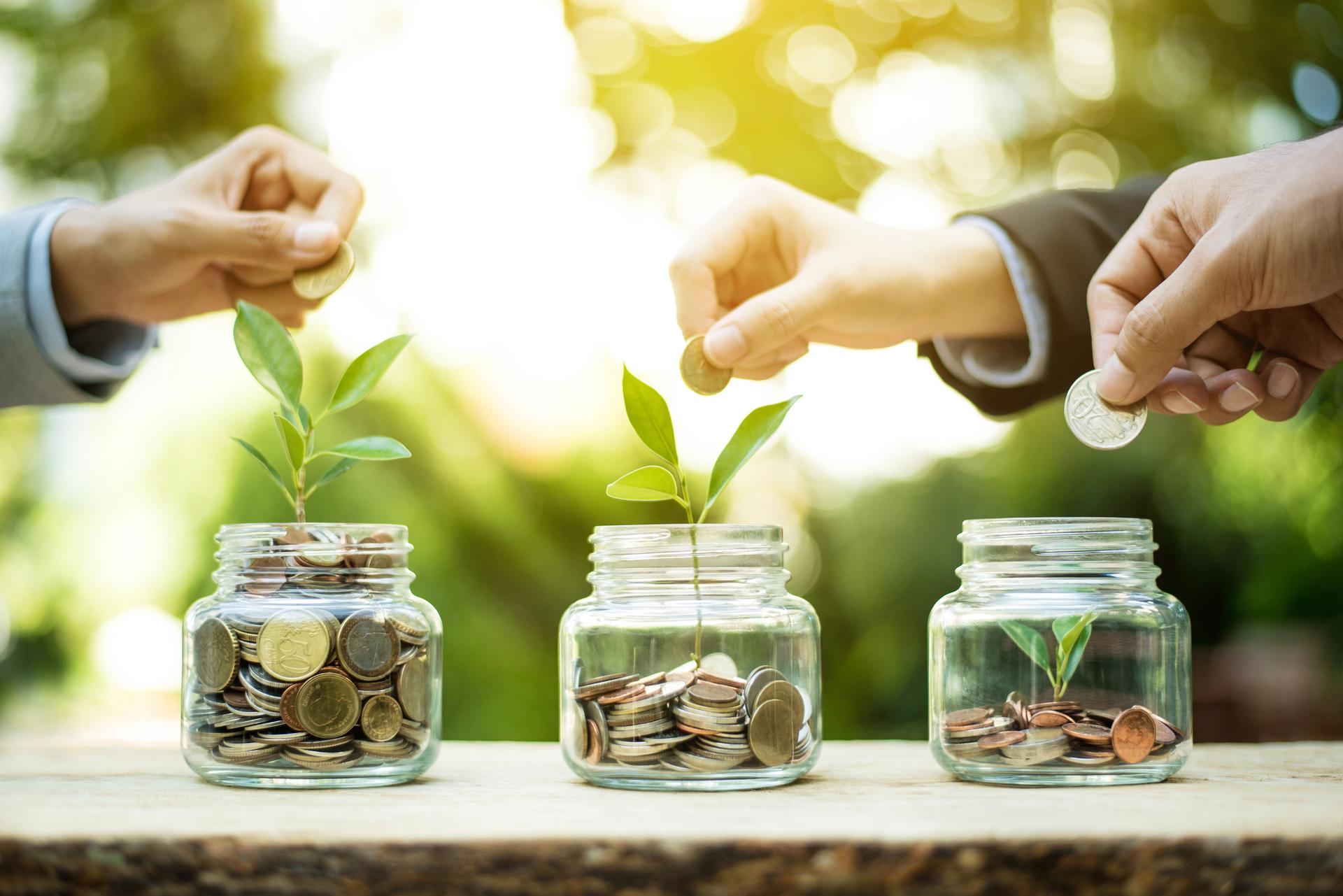 money in jars