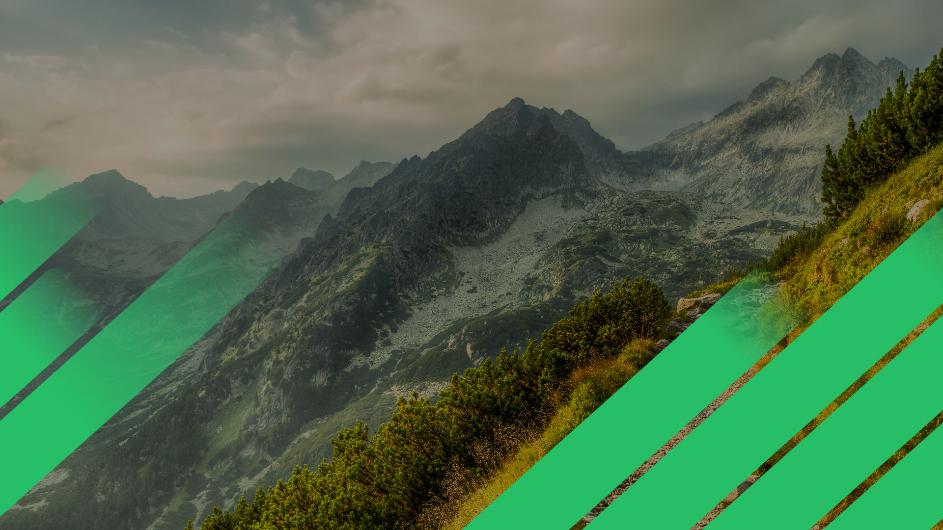 mountain range with green energy transition style