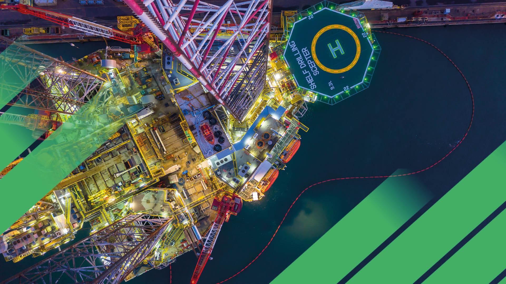 Offshore oil rig drilling platform energy transition