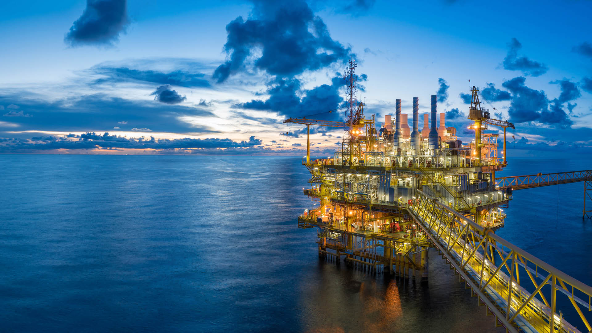 Panorama of Oil and Gas central processing platform in twilight