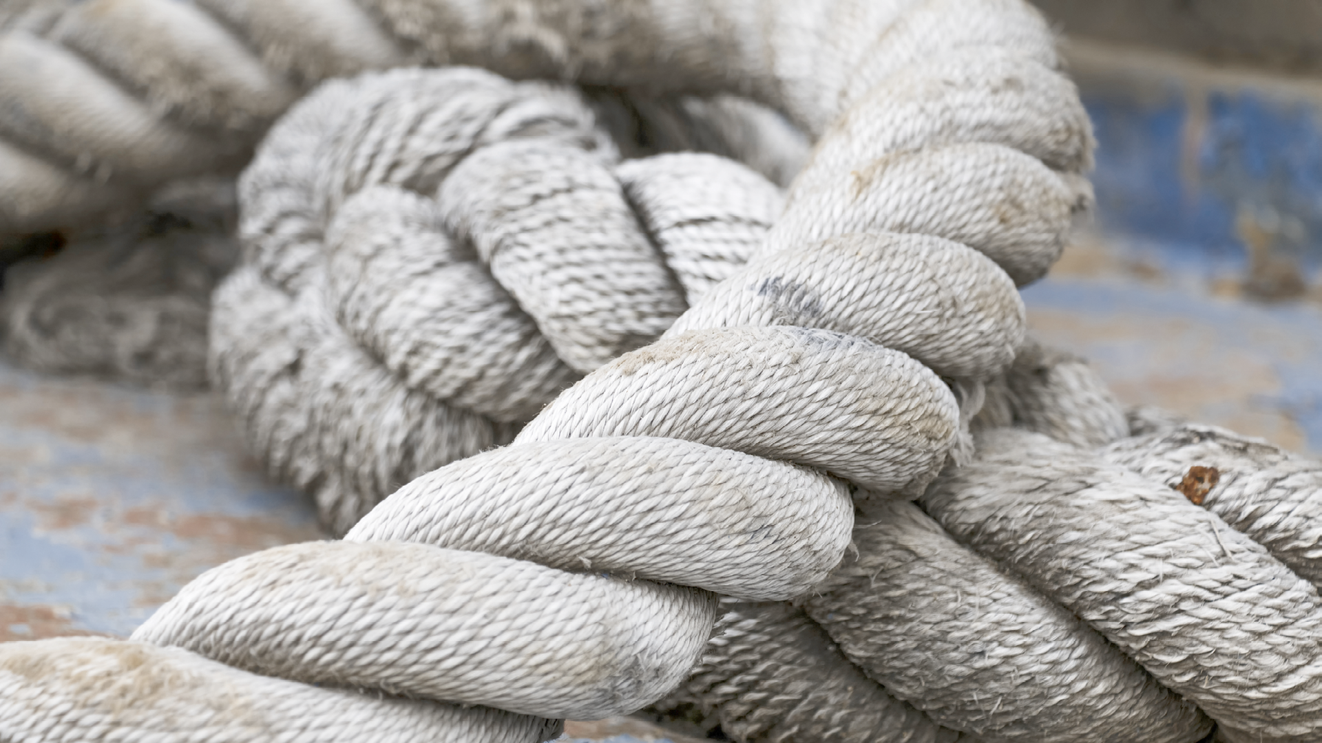 Old rope for mooring the ship