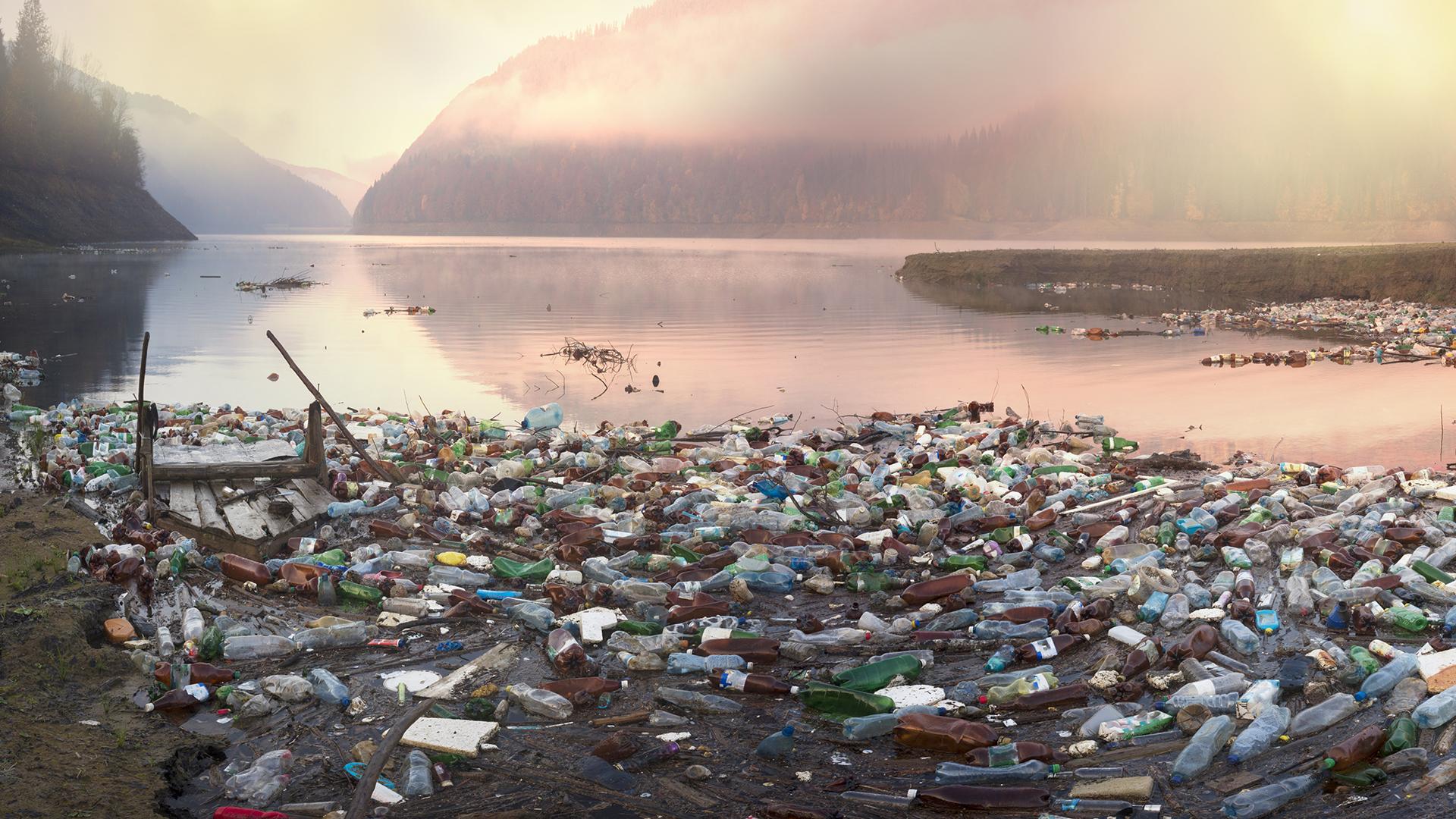 Plastic debris on beach