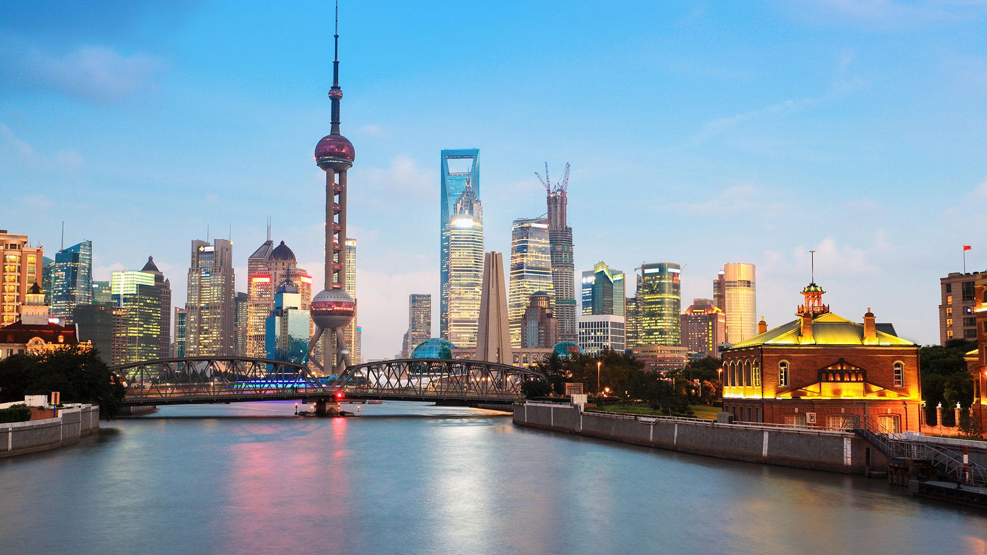 shanghai skyline,view from suzhou river