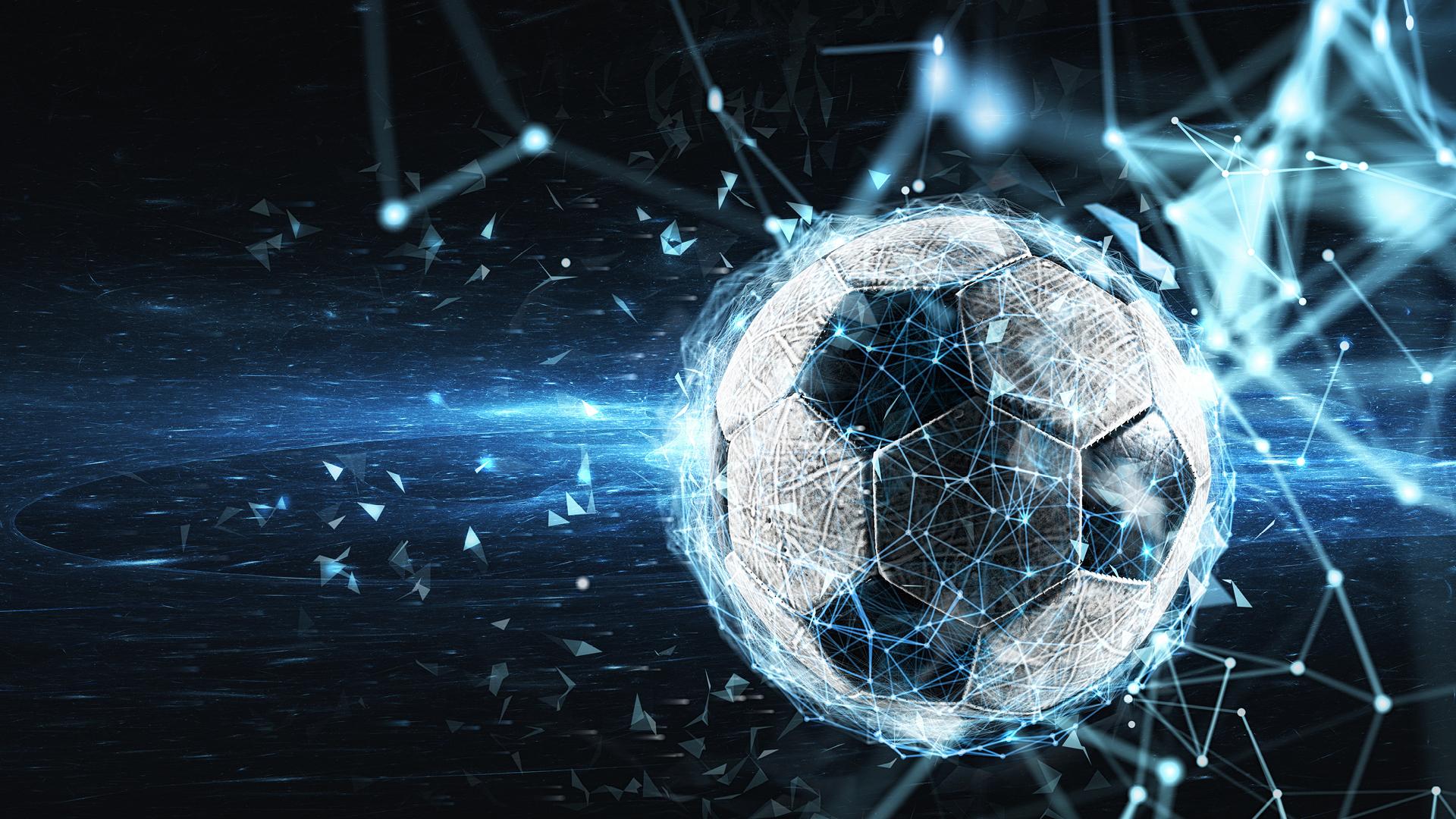 soccer ball with digital internet network effect