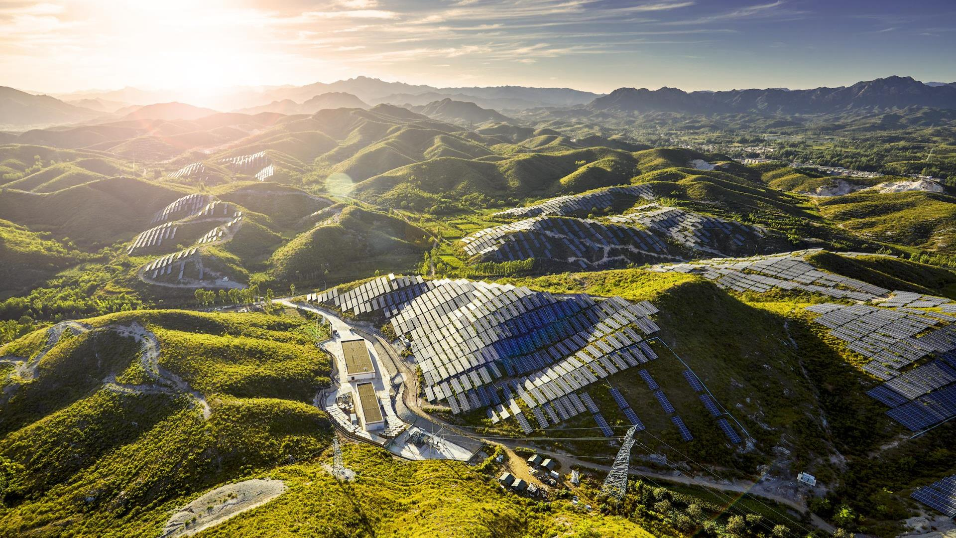 Solar panels on a mountain
