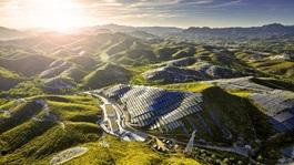 Solar panels on a mountain