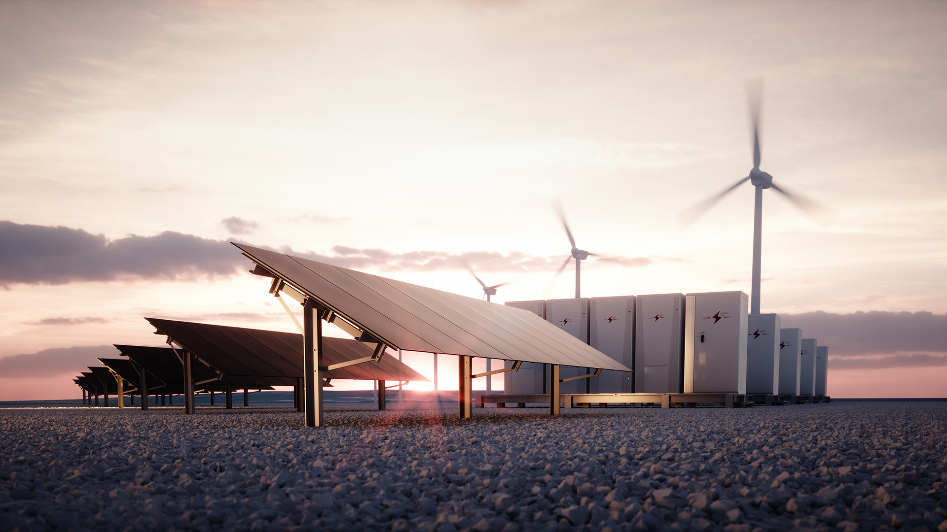 Solar power with sunset background