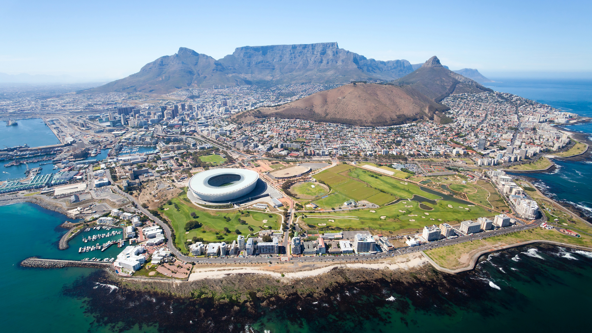 Aerial view of table mountain in South Africa