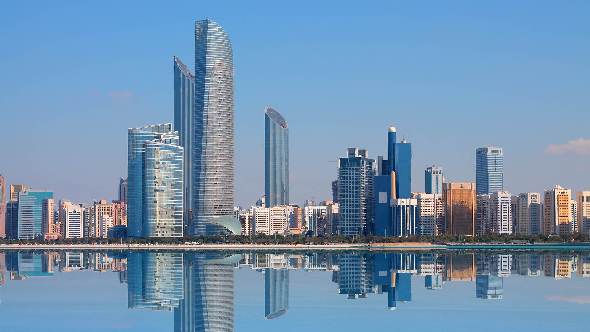 UAE skyline buildings near the sea