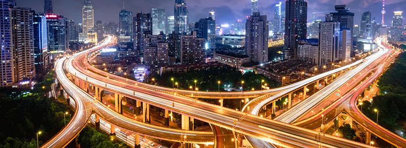 Highway junction at night