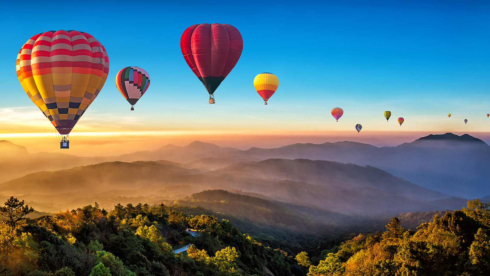 Balloons flying over a valley.