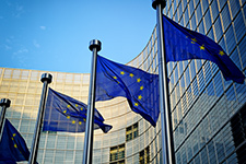European Union flags over looking building