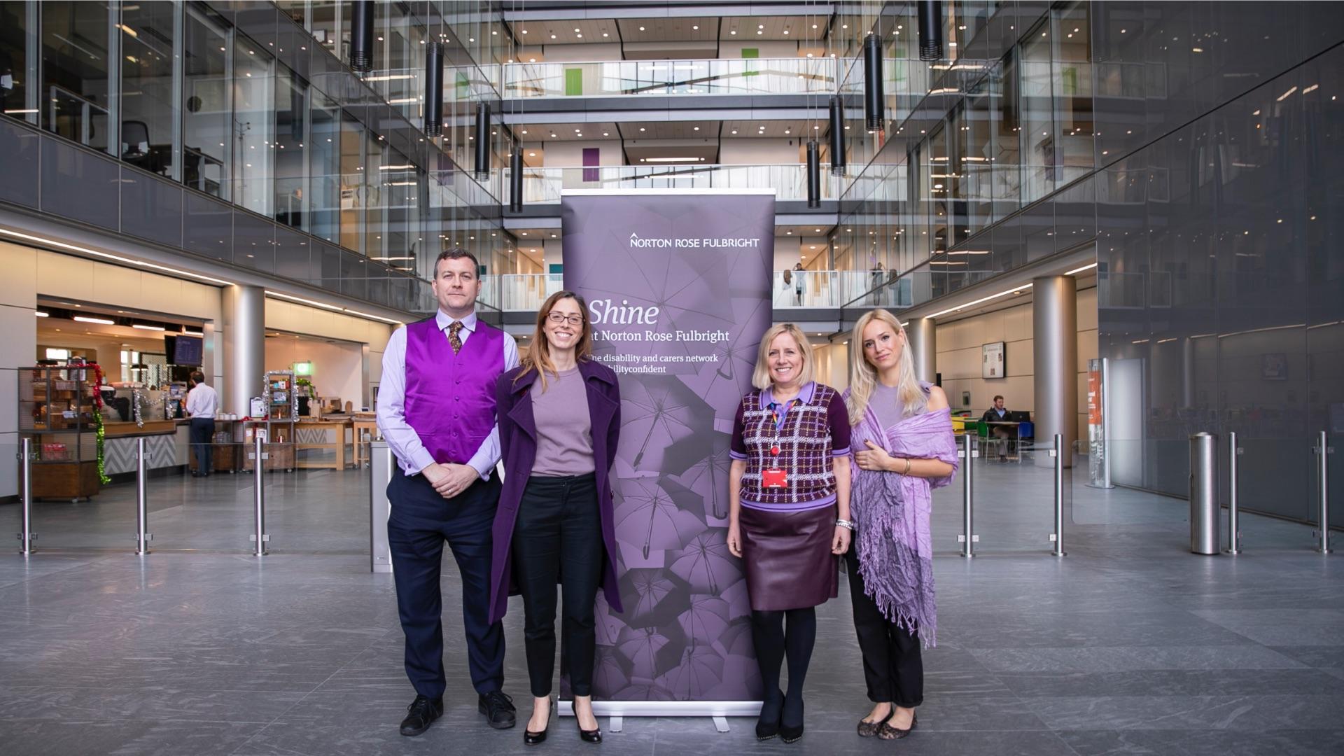 people wearing purple