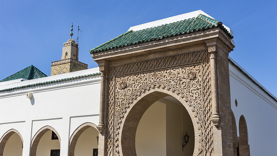 Mosque El-Fahs with beautifully decorated entrance in the Parc of the Kings palace in Rabat, Morocco