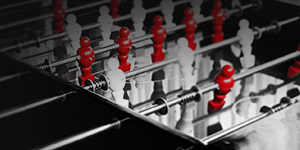 Foosball table in black white and red