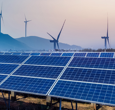 Renewable energy with solar panels and wind mills