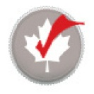 white maple leaf with red check mark in middle