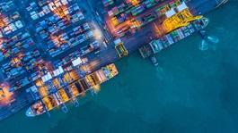 Ships in docks at night
