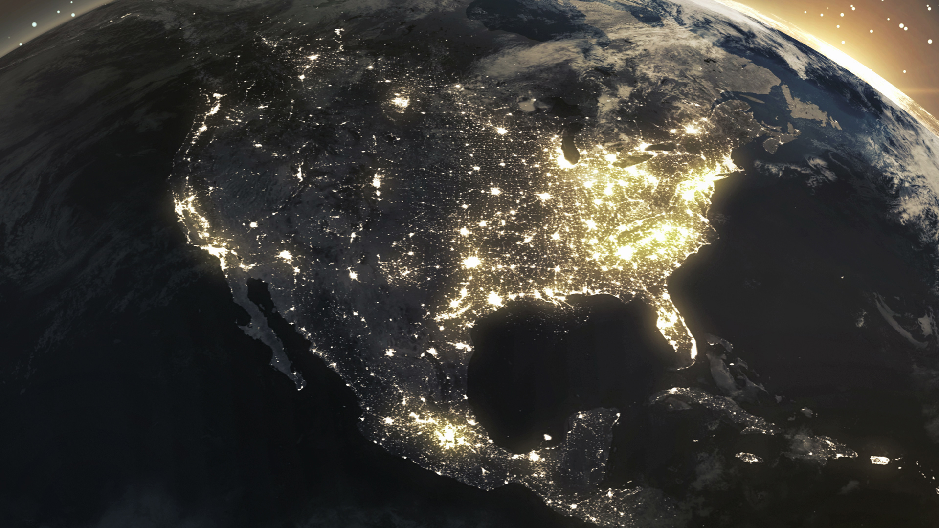 United States at night taken from satellite