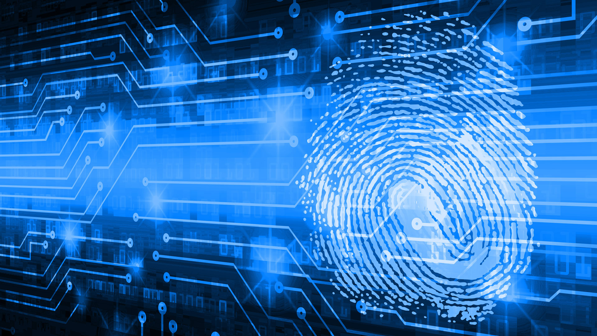 Digital fingerprint in blue