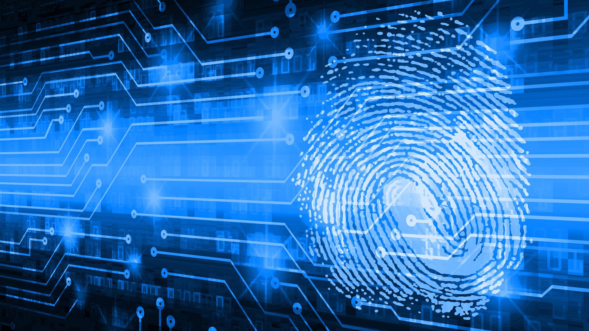 Digital fingerprint in blue