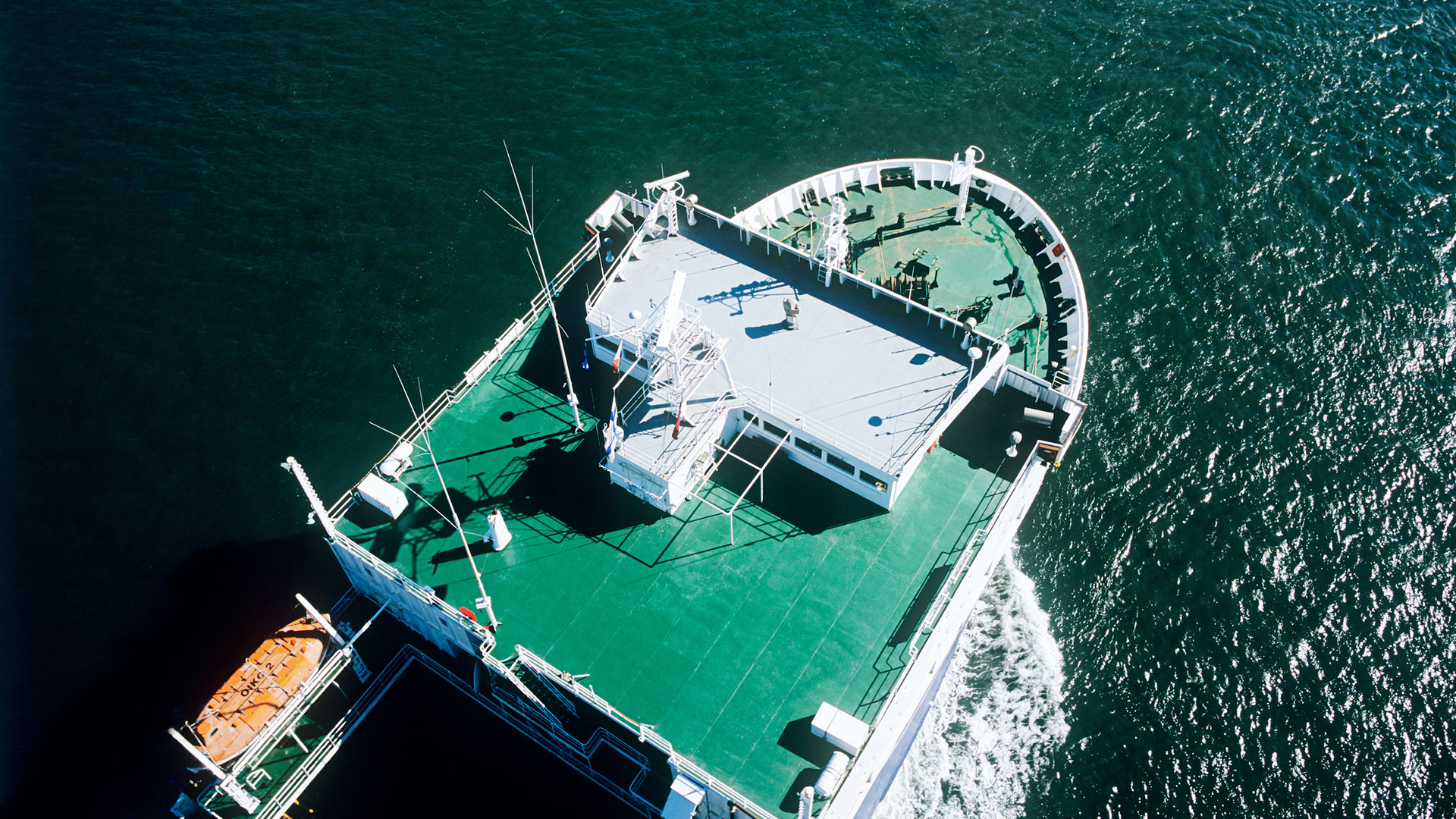aerial view of ship deck