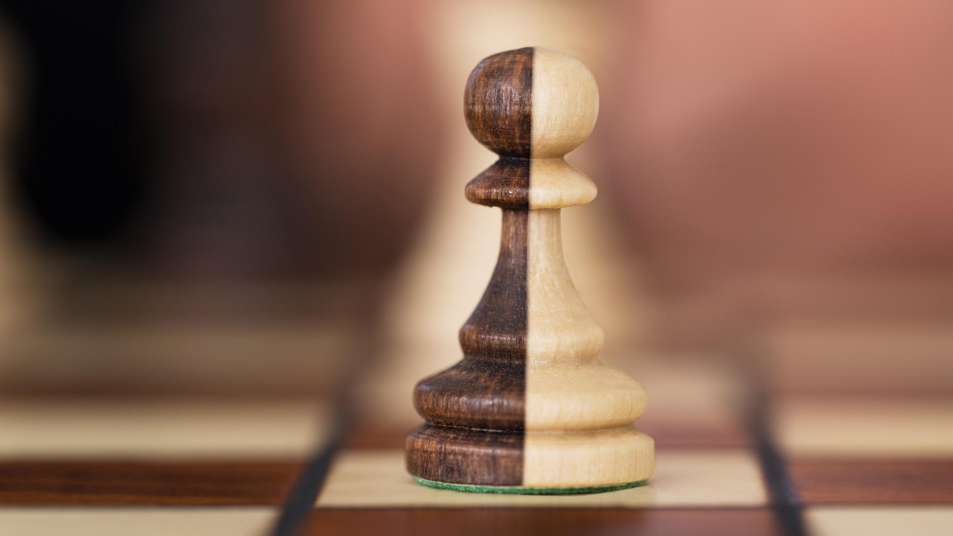Split color chess piece