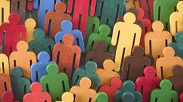 Different colors of people cutouts