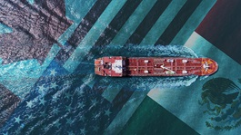 ship on water background of Canada, Mexico and United States flags