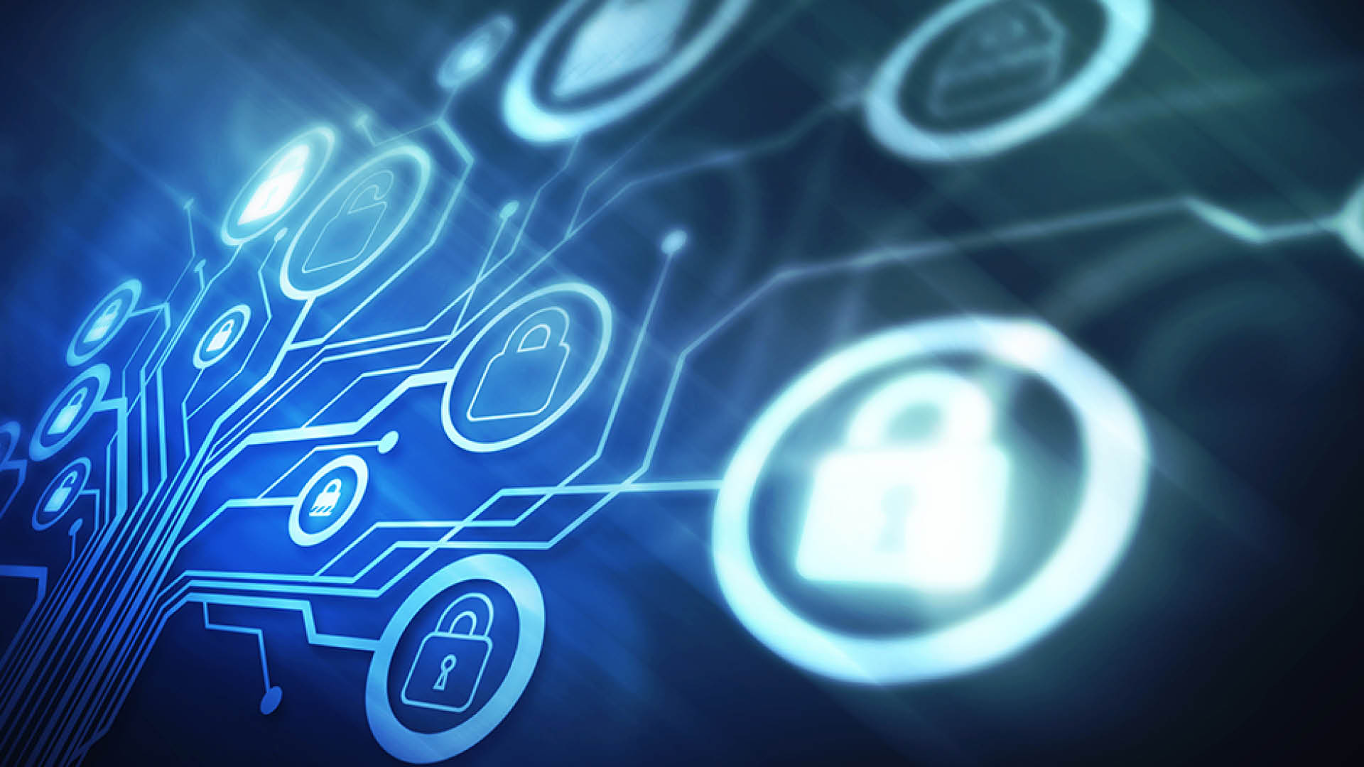 Security and privacy icon on a blue tech background