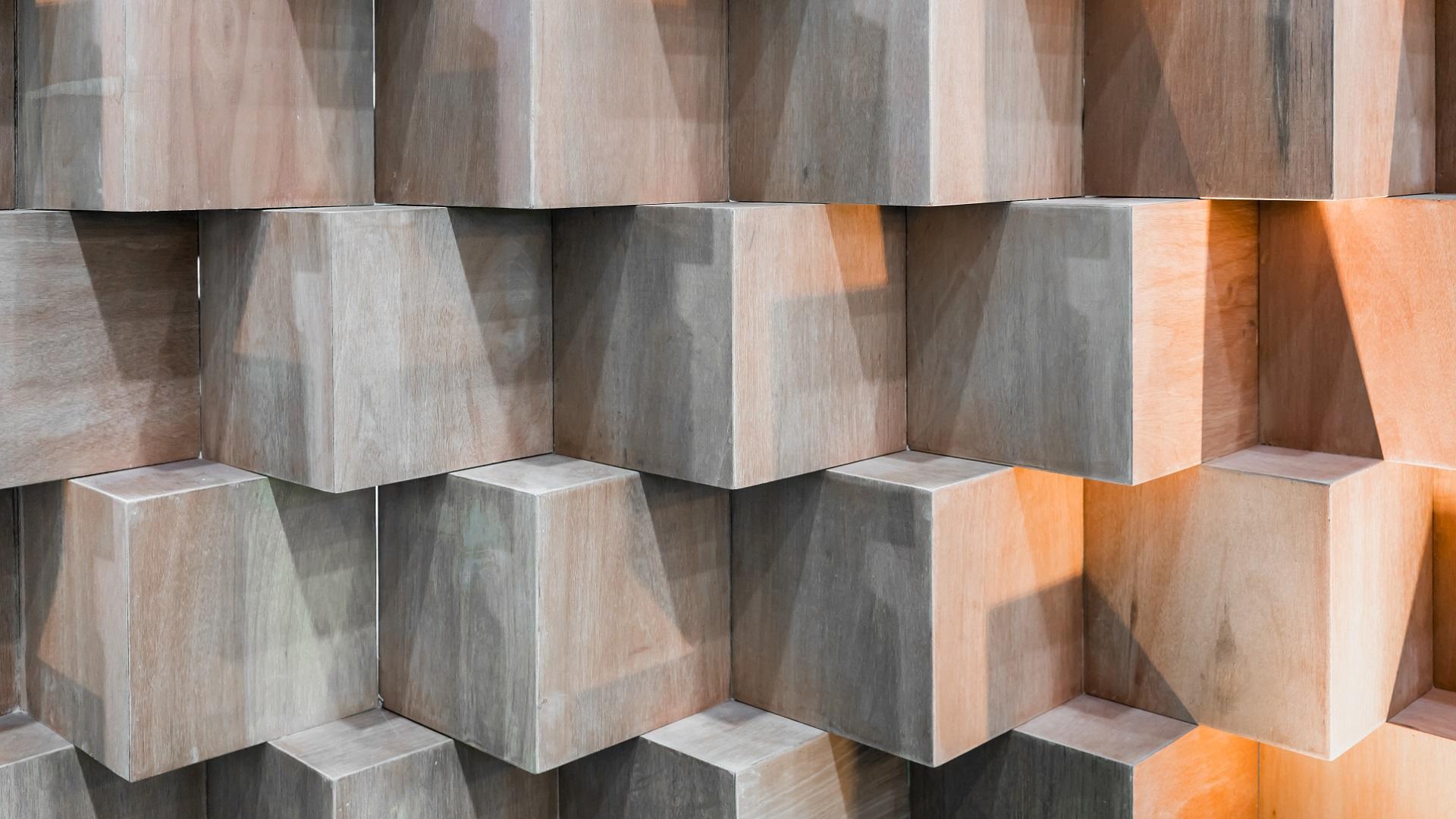Symmetrical wooden blocks